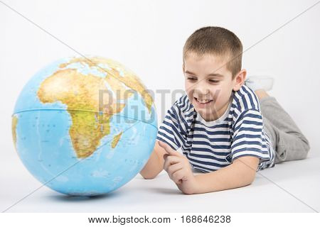 Schoolkid learning geography