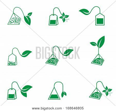 Icon set of tea bags isolated on a white background.