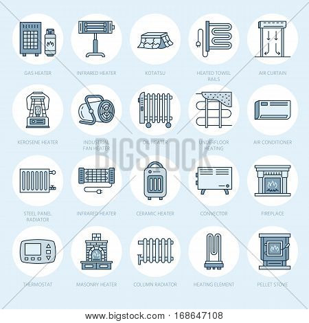Oil heater, fireplace, convector, panel column radiator and other house heating appliances line icons. Home warming thin linear pictogram such as kotatsu, Russian oven. Equipment store signs.