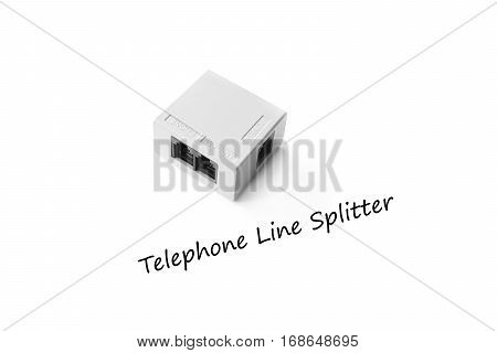 Closed up telephone line splitter isolated on white background