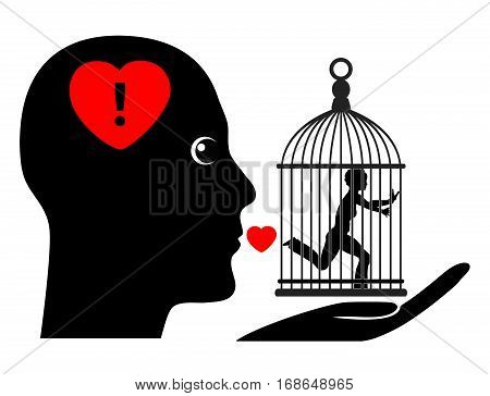 Possessive Husband. Humorous concept sign of wife living in a gilded cage controlled by dominant spouse