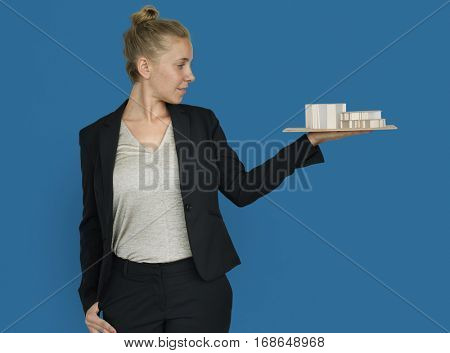 Businesswoman Architectural Model Plan Built Structure Concept