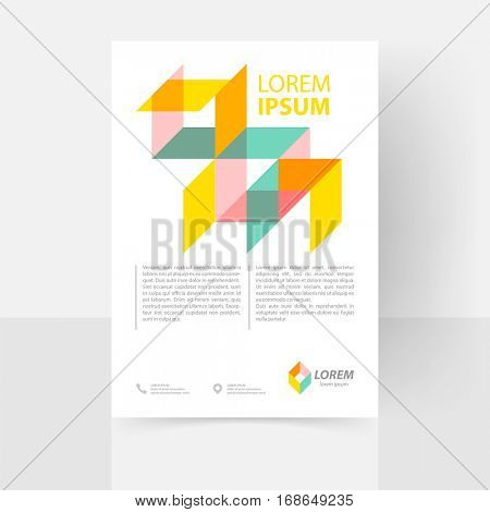Vector text template for flyer, poster, report, brochure. Abstract clean geometric design. EPS 10. A4