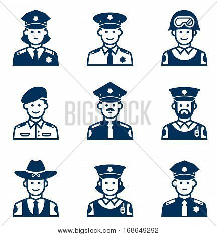 People occupations icons. Police icon. Avatars police