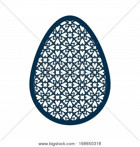 Easter egg with geometric pattern. Laser Cutting template for greeting cards, envelopes, invitations, interior elements. Vector еaster paper cutting ornamental panel. Die cut card.