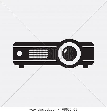Projector. Vector icon isolated on grey background.