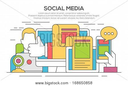 Vector illustration of social media networking, storytelling, producing creative, sharing of digital content. Modern thin line flat illustration for web banners, printed materials.