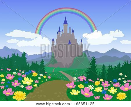 Vector Landscape With Medieval Castle and Flowers