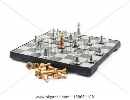 Checkmate on a board of chess, composition isolated over the white background