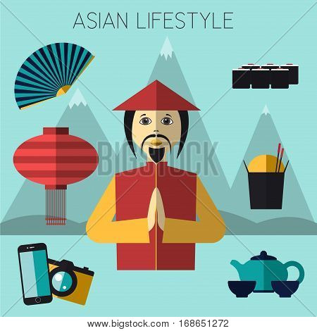 Asian lifestyle Vector illustration Icons set in flat design Asian lifestyle and people