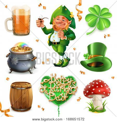 Feast of Saint Patrick. Leprechaun, beer and clover, 3d vector icon set poster