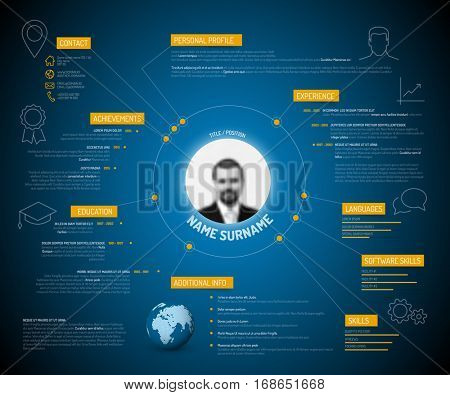 Vector original minimalist cv resume template - creative version with yellow headings and icons on dark blue background