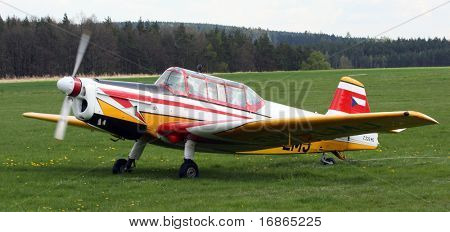 Czech training plane Zlin 226 MS in airport Plasy - Czech Republic Europe