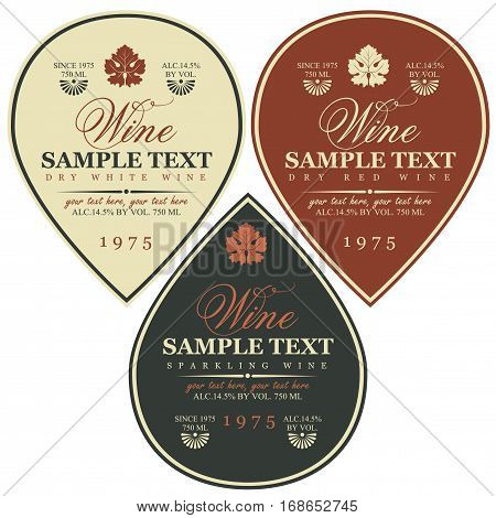 set vector wine labels with vine leaves