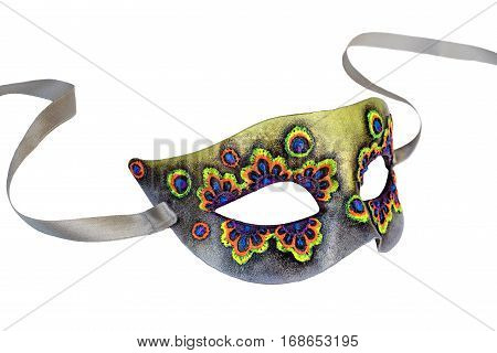 Multicolor Venetian Carnival half mask with ribbon. Made papier mache, acrylic paints and embroidery