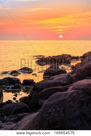 Calm Sunrise Over The Sea Shore