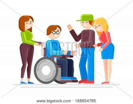 Special needs child with friends, friends and handicapped children. Caring for invalid. Disabled person care. Vector illustration