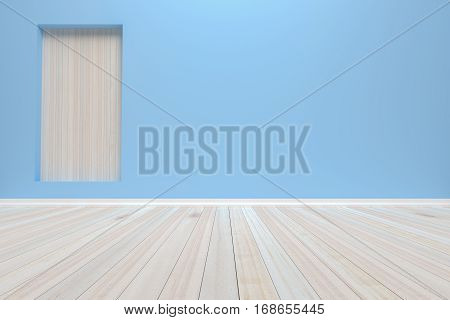 Empty interior pastel room with wooden floor For present your products. - 3D render image.