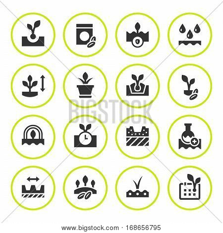 Set round icons of seed and seedling isolated on white. Vector illustration