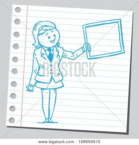 Businesswoman holding frame