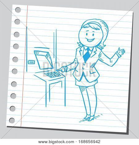 Businesswoman and ATM machine
