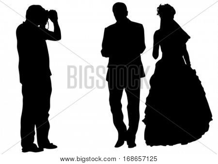 Wedding photographer and bride whit groom on white background