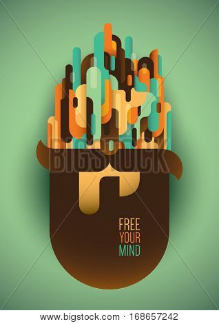 Conceptual illustration of a human head with beard, abstract style composition and slogan. Vector illustration.