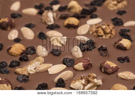 Milk chocolate background with nuts and raisins - selective focus