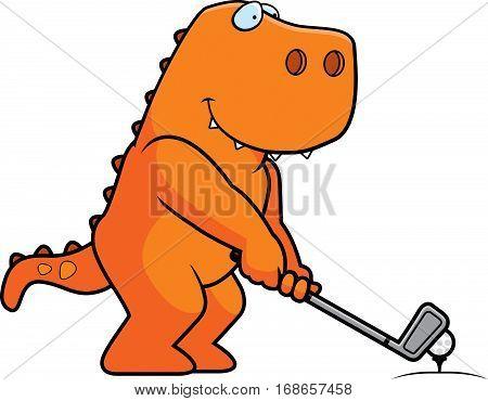 Cartoon Dinosaur Golfing