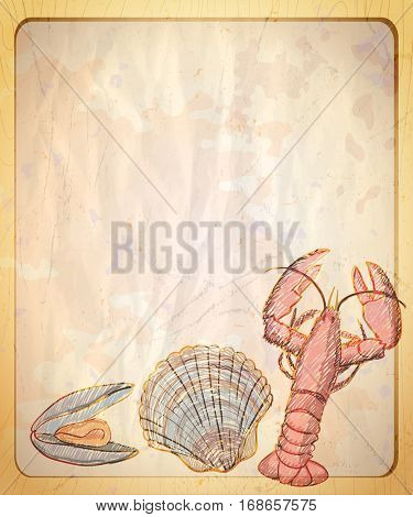 Vintage paper backdrop with empty place for text and graphic illustration of mussel and crayfish, rasterized version