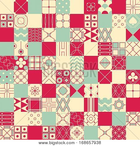 Seamless vector background in patchwork style with geometric patterns (tiling) of blue, red and ivory color. Endless texture can be used for pattern fills, surface and textile textures, wallpaper