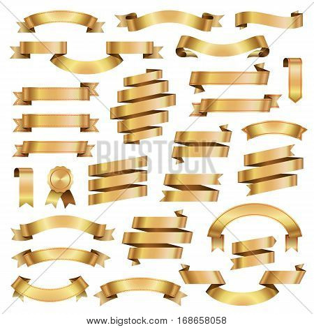 Golden Ribbon Banners Design Elements Retro Collection Isolated on White Background