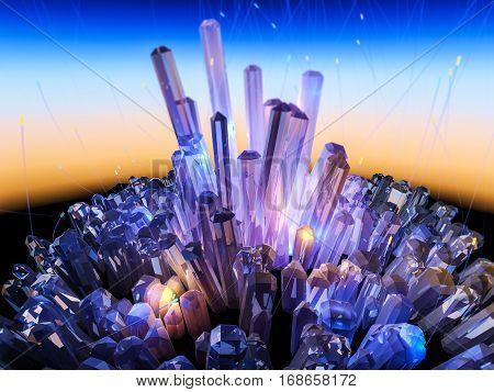 Crystal Background 3D Illustration