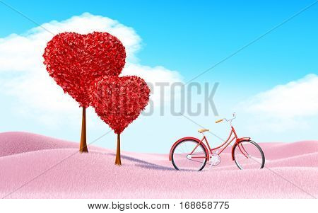 Heart Trees Landscape With Bicycle