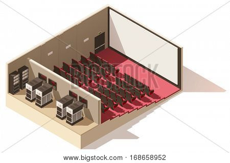 Vector isometric low poly movie theater cutaway. Includes movie projection screen, seats and projectors