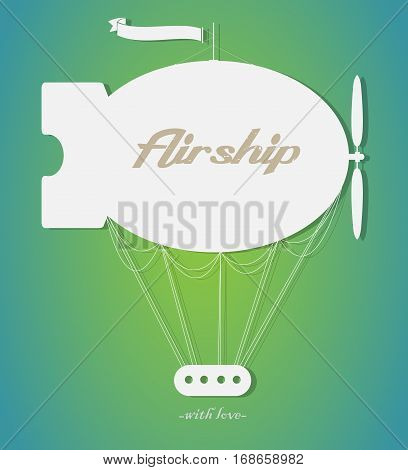 Vector silhouette vintage fairy airship. Paper art