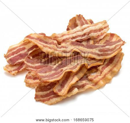 cooked crispy slices of bacon isolated on white background.