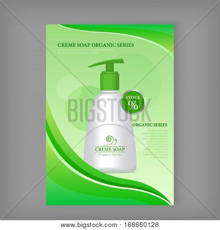 Cream soap sea series. Liquid soap bottle. Plastic tube with pump for cosmetics on green background. Product for body care, beauty, health, freshness, youth, hygiene. Realistic vector illustration.