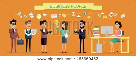 Business people concept vector in flat style. Collection of office situations and people work interactions. Working on computer, making calls, receiving recognition of success, professional victory.