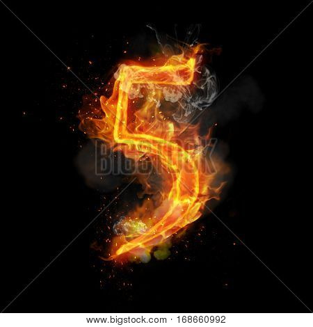 Fire number 5 five of burning flame. Flaming burn font or bonfire alphabet text with sizzling smoke and fiery or blazing shining heat effect. Incandescent hot red fire glow on black background