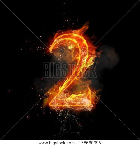 Fire number 2 two of burning flame. Flaming burn font or bonfire alphabet text with sizzling smoke and fiery or blazing shining heat effect. Incandescent hot red fire glow on black background poster