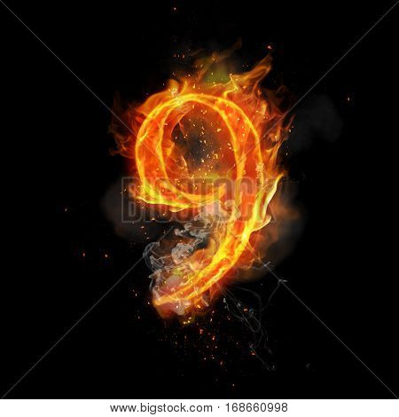 Fire number 9 nine of burning flame. Flaming burn font or bonfire alphabet text with sizzling smoke and fiery or blazing shining heat effect. Incandescent hot red fire glow on black background poster