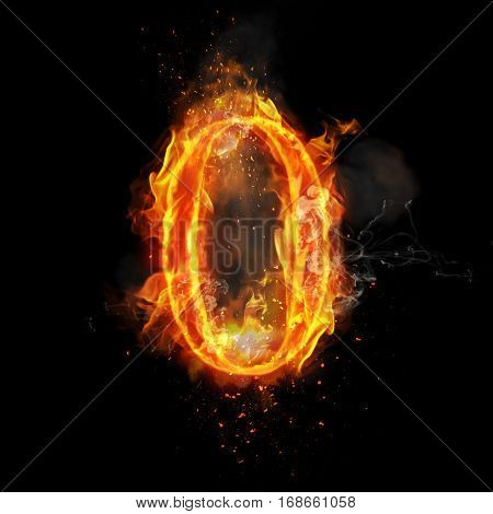 Fire number 0 zero of burning flame. Flaming burn font or bonfire alphabet text with sizzling smoke and fiery or blazing shining heat effect. Incandescent hot red fire glow on black background poster