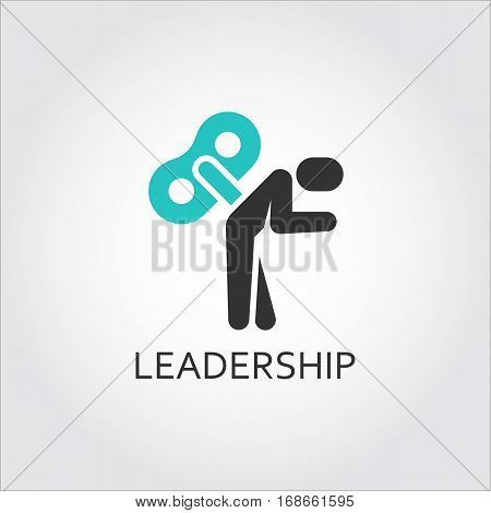 Vector icon of human silhouette with key in back. Motivation, leadership, business concept. Simple black and green pictograph for websites, mobile apps, games, buttons and other design needs