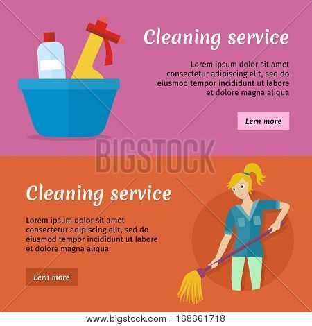 Cleaning service advertisement cards set. Posters with cleaning service stuff and equipment. Worker of cleaning company. Successful cleaning business company banner. Lady housekeeper. Vector