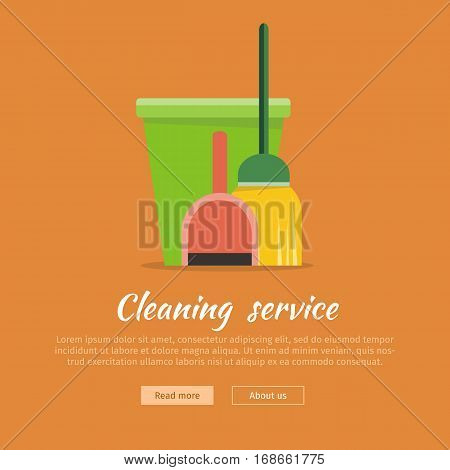 Cleaning service web banner. Bucket with duster, broom and dustpan icon. Symbols of clean in house. House washing equipment. Office and hotel cleaning. Housekeeping. Cleaning business concept. Vector