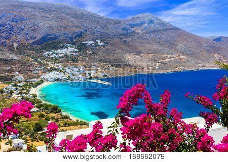 Stunning Greek beaches in Amorgos island,Aegialis bay, Cyclades