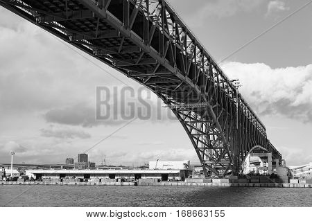 Black and White Under Minato Bridge over Osaka sea port Japan