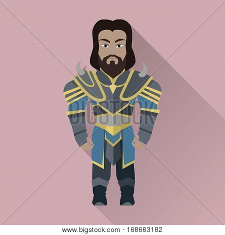 Game object of knight in steel medieval armor with crown. Character stand in front. Stylized fantasy characters. Game object in flat design on game background. Vector illustration.