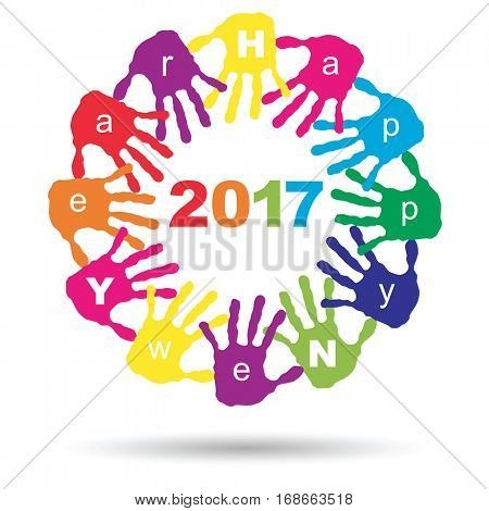 Concept or conceptual circle of colorful hand print or handprint text made by children for Happy New Year 2017 greeting isolated on white background for celebration, holiday, party or eve event